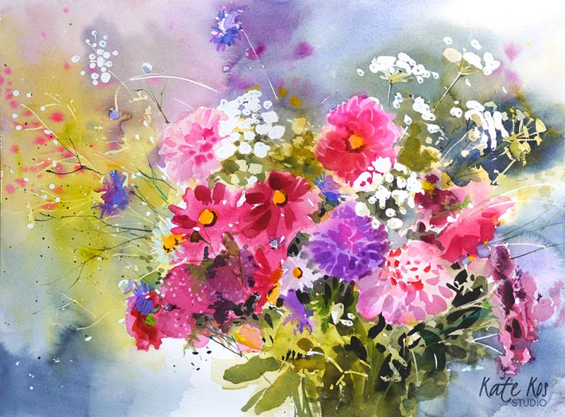 2021 art painting watercolor flowers bouquet by Kate Kos - Thinking of You copy